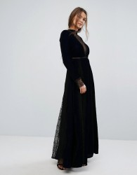Frock and Frill Maxi Dress in Embossed Velvet with Lace Inserts - Navy