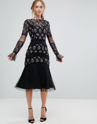 Frock and Frill Midi Dress with Embellishment - Black
