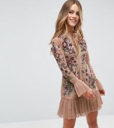 Frock And Frill Petite Allover Premium Embellished Fluted Hem Detail Skater Dress - Beige