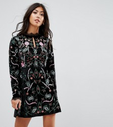 Frock And Frill Petite Allover Premium Embroidered Velvet Skater Dress - Black