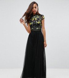 Frock And Frill Petite Embellished Top Maxi Dress With Mandarin Collar Detail - Black