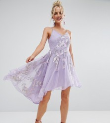 Frock And Frill Petite Embroidered Cami Strap High Low Midi Dress With Plunge Back Detail - Purple