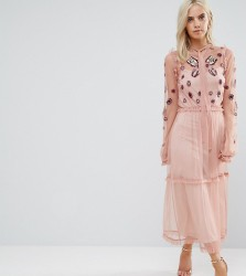 Frock And Frill Petite Embroidered Ruffle Hem Tiered Maxi Dress With Neck Tie Detail - Pink