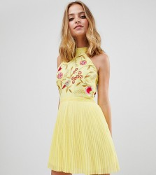 Frock And Frill Petite Embroidered Top Pleated Mini Dress - Yellow
