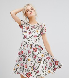 Frock And Frill Petite Floral Embroidered Mini Skater Dress With Cap Sleeves & High Low Hem - White