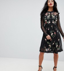 Frock And Frill Petite Floral Premium Embroidered Metallic Tulle Skater Dress - Black