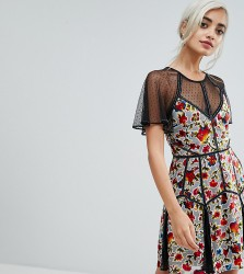 Frock And Frill Petite Floral Printed Velvet Mini Dress With Spotty Mesh Detail - Multi