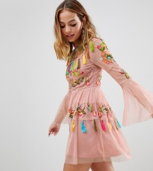 Frock And Frill Petite Folk Embroidered Tassel Skater Dress - Pink