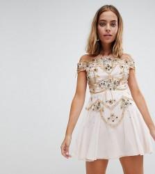 Frock And Frill Petite Premium Embellished Bardot Bodice Mini Skater Dress - Pink