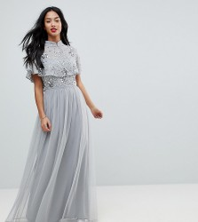 Frock And Frill Petite Premium Embellished Top High Neck Maxi Dress - Grey