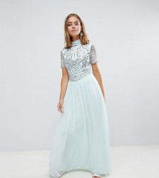 Frock And Frill Petite Premium Embellished Top Maxi Dress - Blue