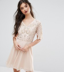 Frock And Frill Petite Premium Embellished Top Mini Prom Skater Dress - Beige
