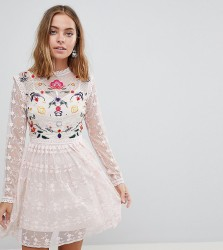 Frock And Frill Petite Premium Embroidered Lace Prom Skater Dress - Pink