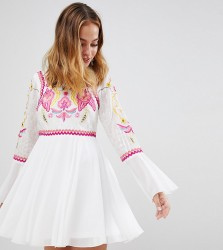 Frock And Frill Petite to Lace & Embroidery Top Pleated Mini Dress - White