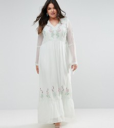 Frock And Frill Plus Embroidered Prairie Maxi Dress With Tie Detail - Green