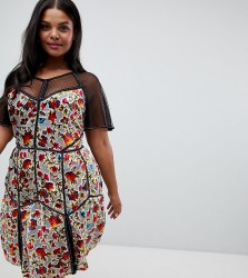 Frock And Frill Plus Floral Printed Velvet Mini Dress With Spotty Mesh Detail - Multi