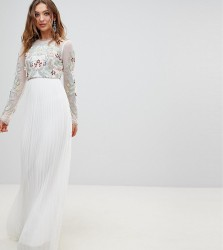 Frock And Frill Premium 3D Applique Top Maxi Dress With Pleated Skirt - White
