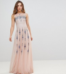 Frock And Frill Premium All Over Embellished Maxi Dress - Pink