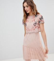 Frock And Frill Premium Embellished Top Drop Hem Skater Dress - Pink