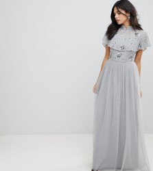 Frock And Frill Premium Embellished Top High Neck Maxi Dress - Grey
