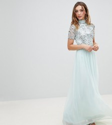 Frock And Frill Premium Embellished Top Maxi Dress - Blue