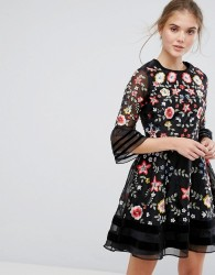 Frock and Frill Premium Embroidered Mini Dress with Exaggerated Sleeve - Black