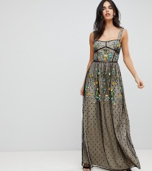 Frock And Frill Premium Folk Embroidered Structured Strap Maxi Dress - Black