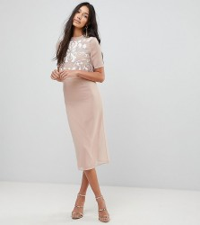 Frock And Frill Tall 2 In 1 Embellished Top Pencil Dress - Beige