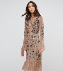 Frock And Frill Tall Allover Premium Embellished Fluted Hem Detail Skater Dress - Beige