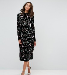 Frock And Frill Tall Allover Premium Embroidered Velvet Aline Dress - Black