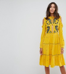 Frock And Frill Tall Cold Shoulder Velvet Smock Dress With Floral Embroidery - Yellow