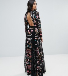 Frock And Frill Tall Embroidered Maxi Dress With Lace Inserts - Black