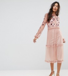 Frock And Frill Tall Embroidered Ruffle Hem Tiered Midi Dress With Neck Tie Detail - Pink