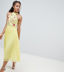 Frock And Frill Tall Embroidered Top Pleated Midi Dress - Yellow