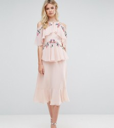 Frock And Frill Tall Floral Embroidered Cold Shoulder Tiered Midi Dress With Open Back Detail - Pink
