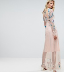 Frock And Frill Tall Floral Embroidered Mesh Maxi Dress With Gathered Cuff And Open Back Detail - Pink