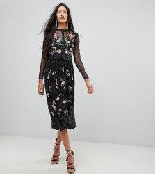 Frock And Frill Tall Floral Premium Embroidered Metallic Tulle Skater Dress - Black