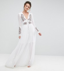 Frock And Frill Tall Folk Embroidered Button Down Maxi Dress - White