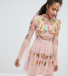Frock And Frill Tall Folk Embroidered Tassel Skater Dress - Pink