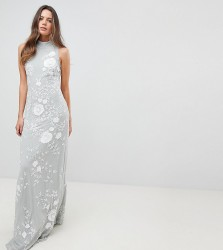 Frock And Frill Tall Premium All Over Embellished High Neck Trophy Maxi Dress - Grey