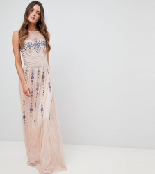 Frock And Frill Tall Premium All Over Embellished Maxi Dress - Pink
