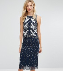 Frock And Frill Tall Premium Embellished 2 In 1 Shift Dress - Navy