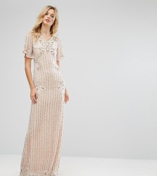 Frock And Frill Tall Premium Embellished Maxi Dress With Fluted Sleeve Detail - Pink