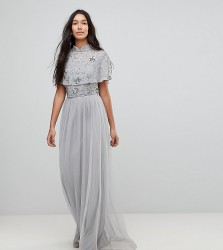 Frock And Frill Tall Premium Embellished Top High Neck Maxi Dress - Grey