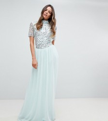 Frock And Frill Tall Premium Embellished Top Maxi Dress - Blue