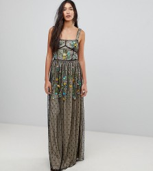 Frock And Frill Tall Premium Folk Embroidered Structured Strap Maxi Dress - Black
