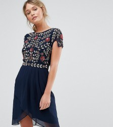 Frock and Frill Wrap Front Midi Dress with Embellishment - Navy
