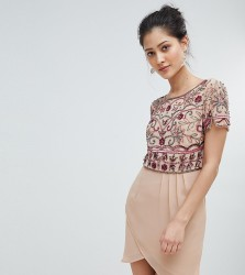Frock And Frill Wrap Front Mini Dress With Embellishment - Pink
