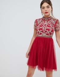 Frock & Frill 3/4 sleeve pleated skater dress with embellished upper detail - Red