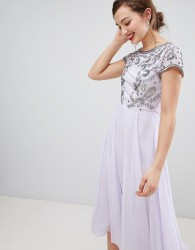 Frock & Frill Capped Sleeve Midi Dress With Embellished Detail - Purple